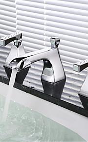 모던 아트 데코/레트로 우아한 주방,욕조수전(Centerset) 자동 온도 조절 레인 샤워 와이드를 분무 with  브라스 발브 두 핸들 세 개의 구멍 for  크롬 , 욕실 싱크 수도꼭지