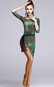 Latin Dance Dresses Women's Performance Viscose Draped 1 Piece Multi-color