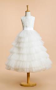 -линии чай длины платье девушки цветка - шнурок / тюль без рукавов
