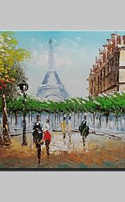 20x25cmをハングアップする準備ができて、キャンバス1つのパネル上のミニサイズ手描きのパリのエッフェル塔の風景現代の油絵