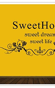 Flower Sweet Home Wall Sticker Quote Wall Stickers Home Decor Vinyl Wallpaper Adesivo De Parede Home Decor