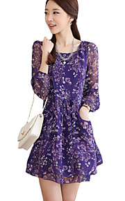 Women's Boho / Punk & Gothic Floral A Line Dress,Round Neck Above Knee Polyester
