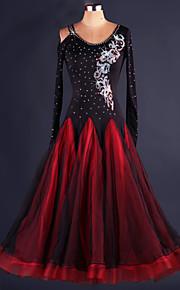 Ballroom Dance Dresses Women's Performance Spandex Draped 1 Piece Black