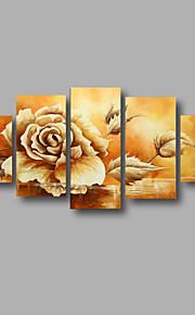 """estirada (listo para colgar) al óleo pintada a mano de pintura de 60 """"x32"""" lona de la pared del arte moderno flores rosas de color beige"""