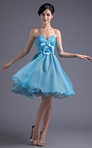 Knee-length Organza / Stretch Satin Bridesmaid Dress-Pool A-line Strapless