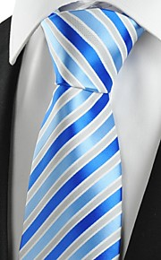 KissTies Men's Luxury Striped Royal Blue Microfiber Tie Necktie For Wedding Holiday With Gift Box