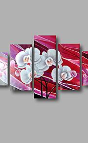 "estirada (listo para colgar) pintura al óleo pintado a mano 60 ""x36"" flores modernas pared de lona de arte marrón púrpura"
