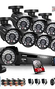 annke® 8-kanaals 1TB CCTV-systeem 960H dvr 8 stuks 800tvl ir weerbestendig outdoor cctv camera binnenlandse veiligheid surveillance kits