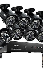 Zosi @ hdmi 8-kanaals 960H netwerk dvr 1TB hdd 8 stuks 800tvl ir outdoor CCTV camera systeem
