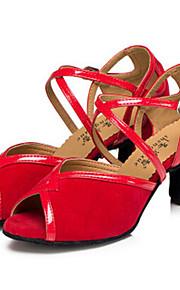Для женщин-Кожа-Персонализируемая(Черный / Зеленый / Красный) -Латина / Танцевальные кроссовки / Модерн / Сальса