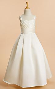 Lanting Bride A-vonalú Földig érő Virágoslány ruha - Szatén Ujjatlan Spagettipánt val vel