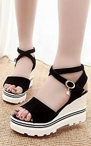 Черный / Красный-Женская обувь-Для праздника / На каждый день-Замша-На танкетке-С открытым носком / Удобная обувь / С ремешком на лодыжке-