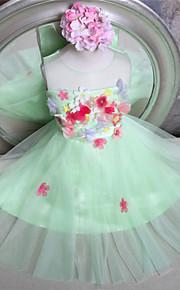 Blumenmädchenkleid-Tüll-A-Linie-Knie-Länge-Ohne Ärmel