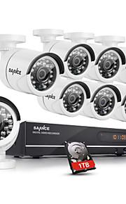 sannce® 8-kanaals ahd-720p dvr recorder met 1TB hdd dag en nacht weerbestendige huis bewakingscamera