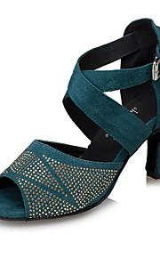 Customizable Women's Dance Shoes Latin / Jazz Shoes / Salsa / Samba Flocking Customized Heel Black / Green / Leopard