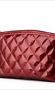 Women Cowhide Casual Clutch Carry-on Bag-Red / Black