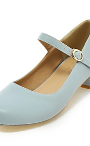 Women's Shoes Chunky Heel Basic Pump / Ankle Strap / Round Toe Heels Dress / Casual Blue / Pink / Beige
