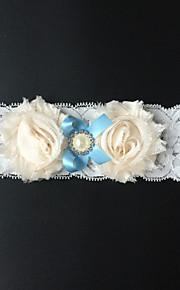 Garter Stretch Satin Flower / Rhinestone White / Blue / Almond