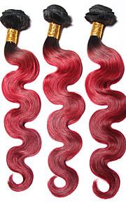 1b / rojo # cuerpo de la onda brasileña del pelo ombre 3 paquetes de grado 7a armadura virginal de la trama del pelo humano