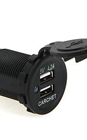 carchet dual usb bil oplader motorcykel lastbil bus rv 5v 4.2a output med støvhætte