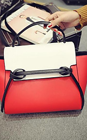 Women PU Baguette Tote-White / Red / Black