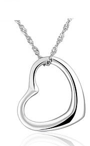 925 Silver Jewelry Shinning Simple Heart Pendant Necklace Women Lovers Couples Friends Favourite Gift