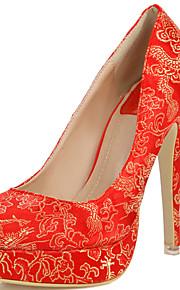 Women's Chinese Vintage Style Flower Round Toe Stiletto Heel/Red