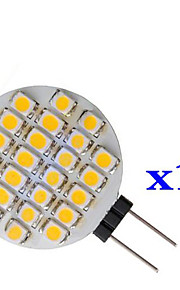 0.9W 1210 24 smd warm wit ronde led lamp g4 (dc 12 v, 10st)