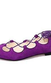 Women's Shoes Suede Flat Heel Ankle Strap / Pointed Toe Flats Wedding / Dress / Casual Black / Purple