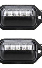 2pcs universal de carro / motocicleta llevó licencia de alumbrado de la placa 12V 6W LED con decodificador llevada especial