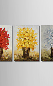 Ready to Hang Stretched Hand-painted Thick Oil Painting 3 Panels Canvas Wall Art White Yellow Blue Blossom Flowers