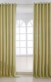 Deux Panneaux Moderne Solide Abricot Salle de séjour Métissé Lin et Polyester Panneau Rideaux rideaux