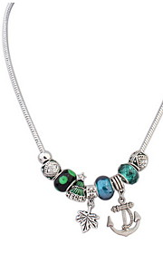 Fashion Autumn Leaves and Anchor Beaded Pendant Long Necklace for Elegant Women
