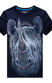 Menn Kortermet T-skjorte Bomull / Akryl Fritid / Sport Trykk