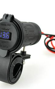 iztor vandtæt 4.2a cigarettænder dual usb bil telefon oplader og 12V blå voltmeter med 60cm ledning