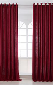 Deux Panneaux Moderne Solide Bordeaux Salle de séjour Métissé Lin et Polyester Panneau Rideaux rideaux