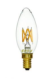 1 stk. NO E14 3W 4 COB 200-300 lm Varm hvit C35 Dimbar / Dekorativ LED-lysestakepærer AC 220-240 V