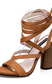 Черный / Коричневый-Женская обувь-Для праздника-Замша-На толстом каблуке-На каблуках / Гладиаторы / С острым носком / С открытым носком-