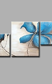 "Stretched (ready to hang) Hand-painted Oil Painting 40""x28"" Canvas Wall Art Modern Flowers Blue Roses"