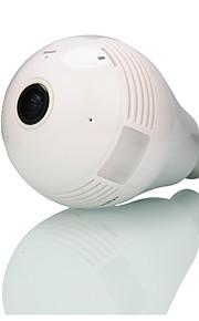 indbyggede 32 GB hukommelseskort 960p trådløse hjemmenetværk (WiFi) overvågning pære typen fiskeøje 360 grader panorama kamera