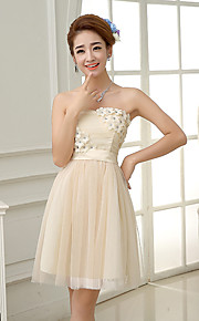 Knee-length Satin / Tulle Bridesmaid Dress-Lilac / Lavender / Pearl Pink / Champagne A-line Strapless