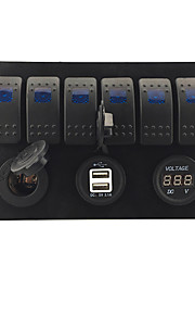 iztor8p blauwe plastic paneel lampen 6p on-off tuimelschakelaar + blauwe led stopcontact + usb autolader + blauwe voltmeter