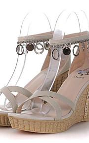 Зеленый / Бежевый-Женская обувь-Для прогулок / На каждый день-Дерматин-На танкетке-На танкетке-Сандалии