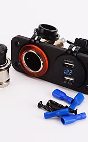 iztoss dobbelt cigarettænder 12v usb 4.2a adapter digital volmeter for til motorcykel bil båd marine carvan
