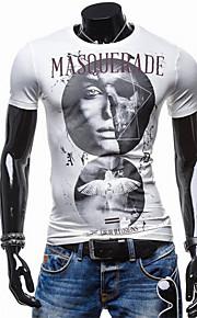 Katoen-Print-Heren-T-shirt-Informeel / Werk / Formeel-Korte mouw