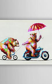 håndmalte oljemaleri dyre to smarte bjørner i sykling med utstrakte ramme 7 veggen arts®