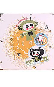 DIY 29 * 29 cm 16inch håndlavet scrapbog fotoalbum 30pcs sort papir - tegneserie til familie / baby / kærester / gaver / bryllup