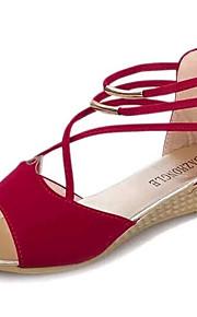 Черный / Синий / Красный-Женская обувь-Для прогулок / На каждый день-Флис-На плоской подошве-Удобная обувь-Сандалии