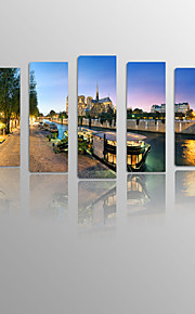 Paris River Boat on Canvas wood Framed 5 Panels Ready to hang for Living Decor