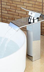 Moderne Centersat Vandfald with  Keramik Ventil Enkelt håndtag Et Hul for  Krom , Håndvasken vandhane